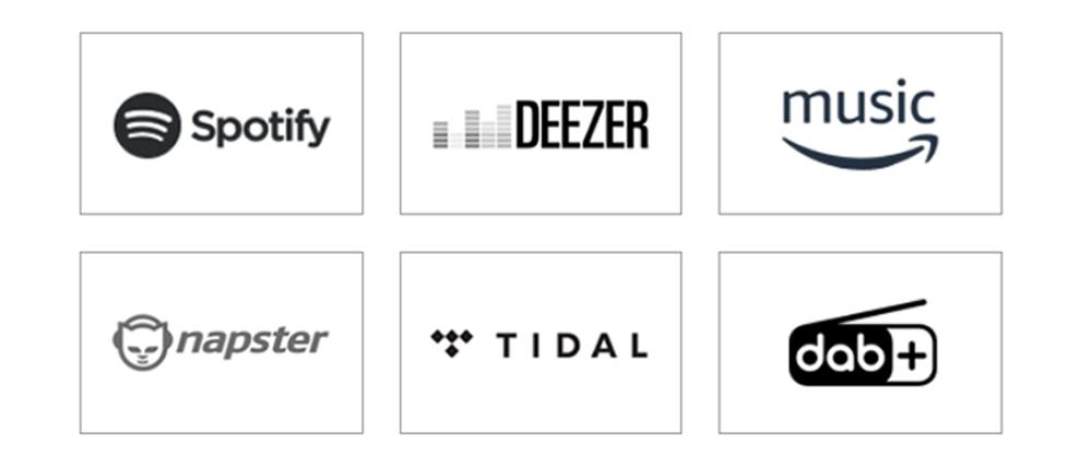 Tích hợp các dịch vụ truyền phát âm nhạc trực tuyến và DAB/DAB+ radio cho trải nghiệm tuyệt vời
