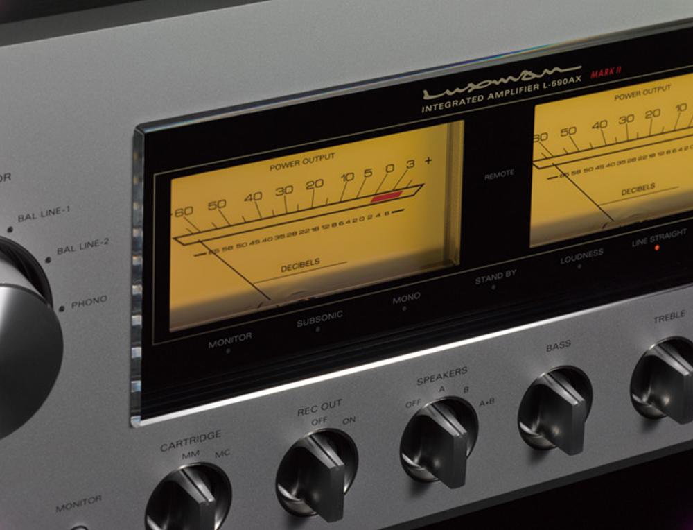 Đồng hồ công suất cơ học tạo nên nét cổ điển, hoài cổ cho amply Luxman L-590AXII