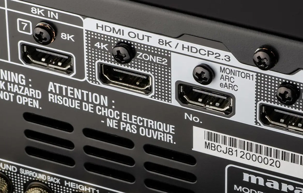 Marantz SR8015 có cổng eARC giúp khuếch đại âm thanh 3D từ TV đến loa